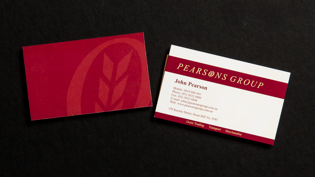 Customised business cards.