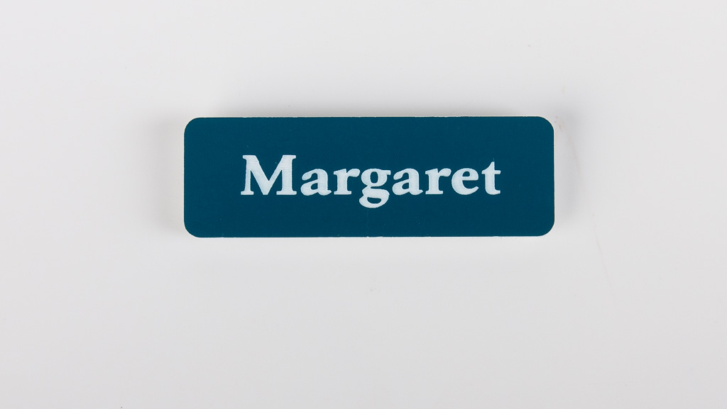 engraved name tag with the name Margaret