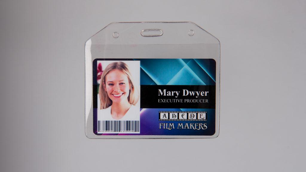 Custom ID card in a plastic protector holder.