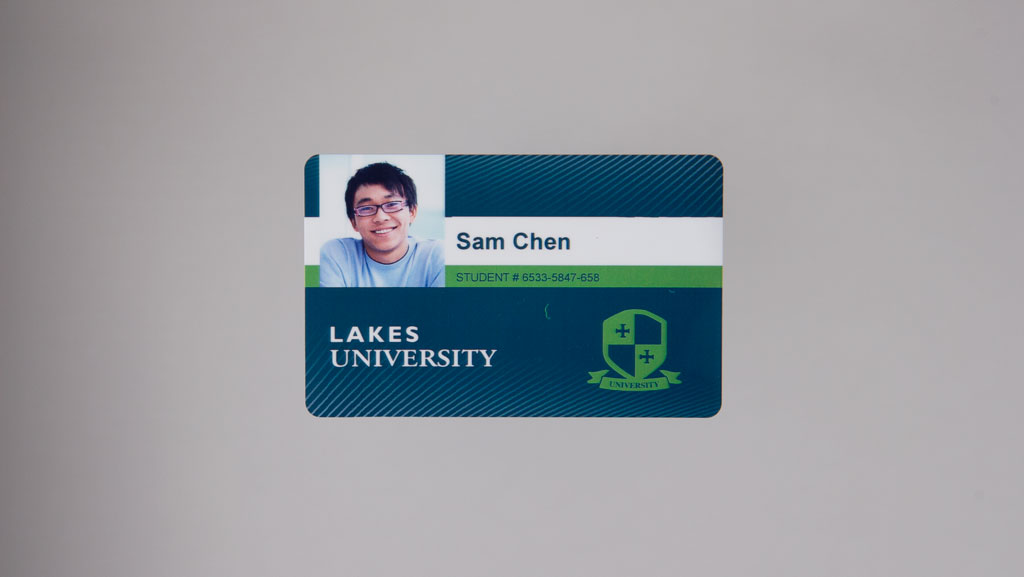 "Generic university ID card for the fictitious ""Lakes University"""
