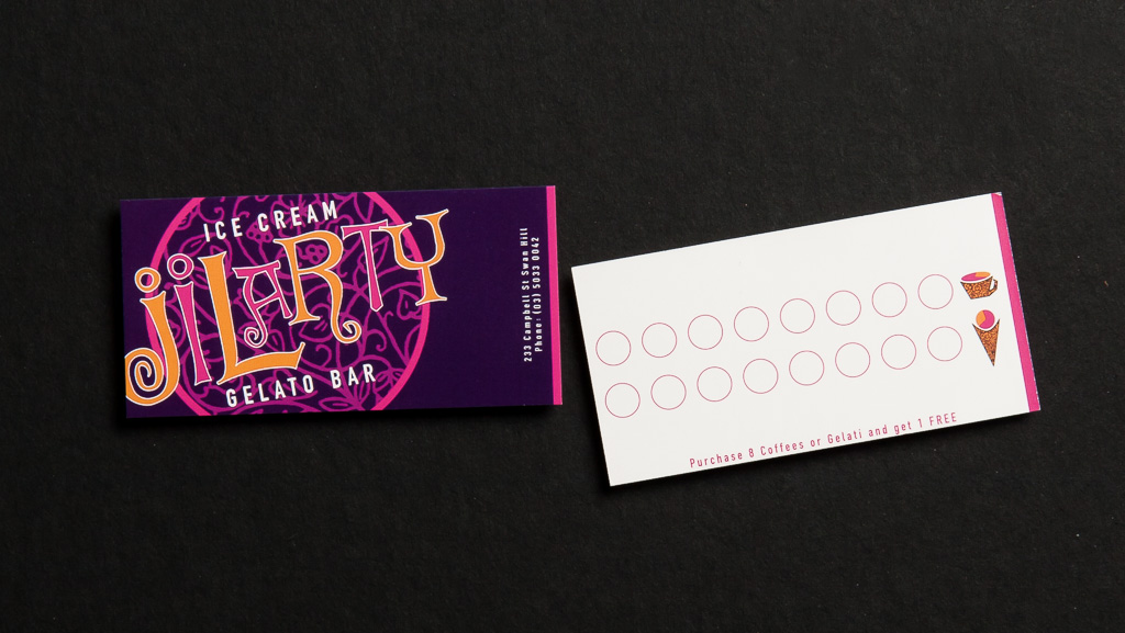 Custom printed loyalty card.