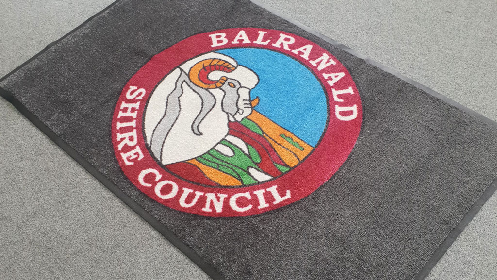 Custom made logo mat for Balranald Shire Council.