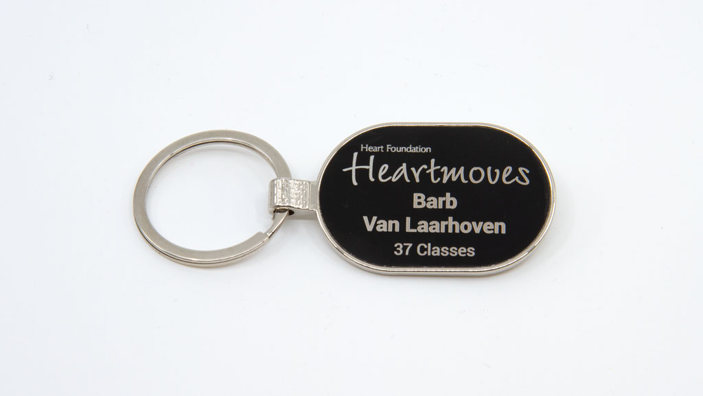 Custom metal key tag.