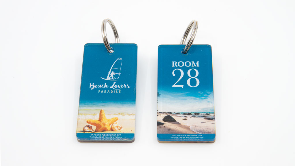 Two full colour digitally printed key tags.