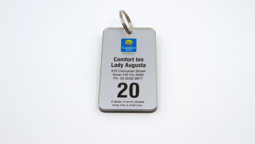 A high quality and durable motel key tag.