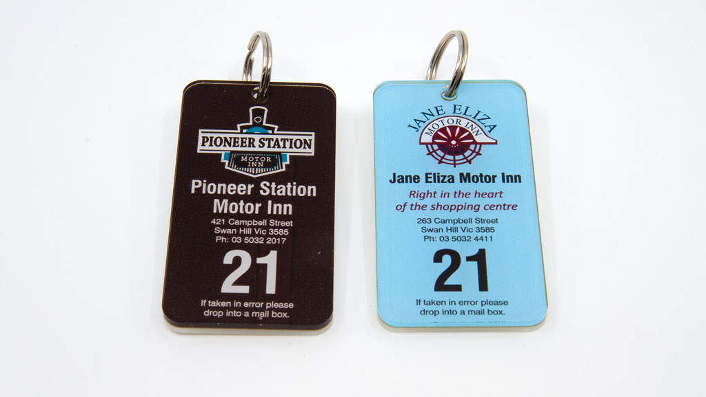 Two key tags that are numbered.