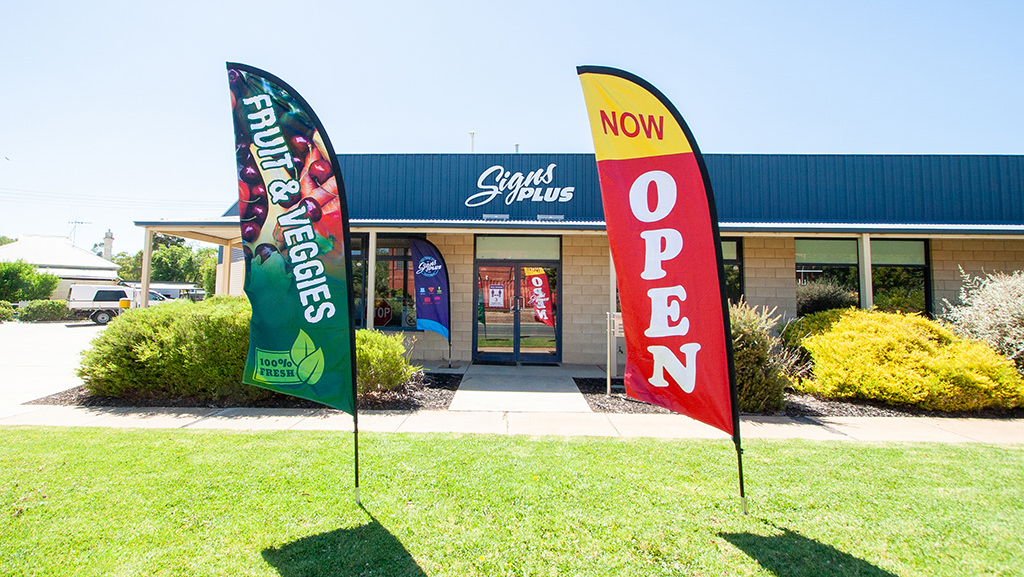 Store and Now Open teardrop banner.