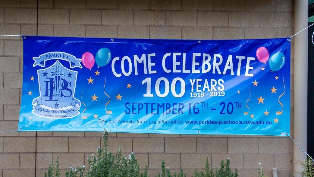 Celebration banner for 100 years commemoration.