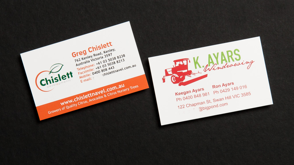 Personalised business cards.