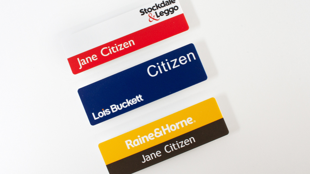 Personalized name badges made here in Australia.