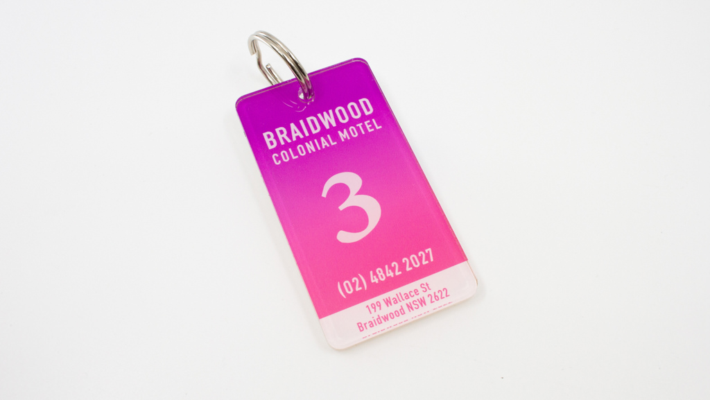 Custom room key tag.