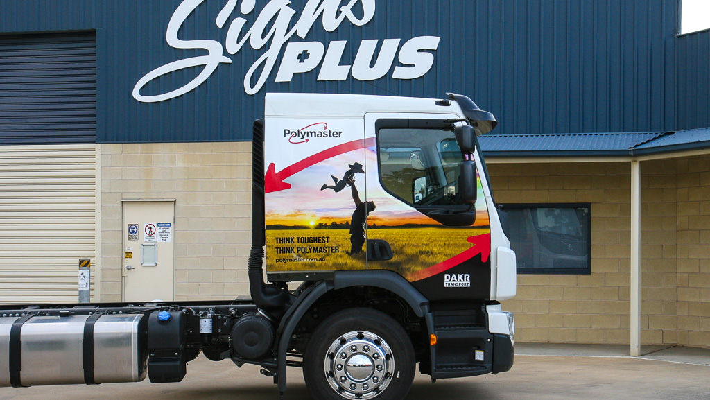 Vehicle wrap for Polymaster on a truck cab.