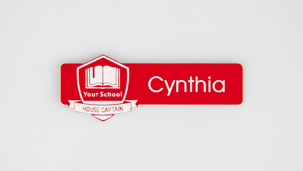 custom shaped engraved red name badge