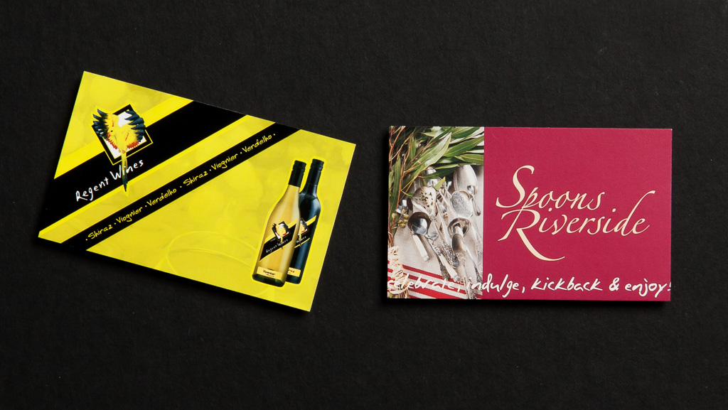 Two different business cards, custom designed and printed in Australia.