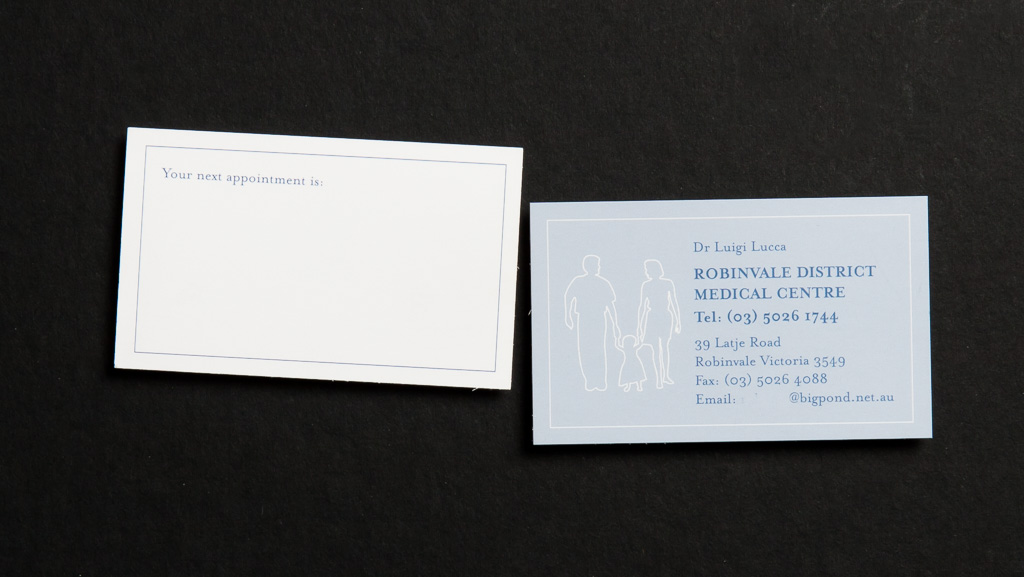 Business card with a easy to write on back.