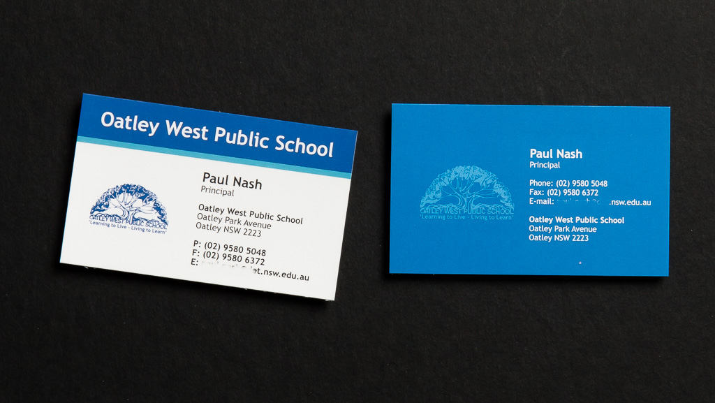 Custom printed business cards for a school in blue.
