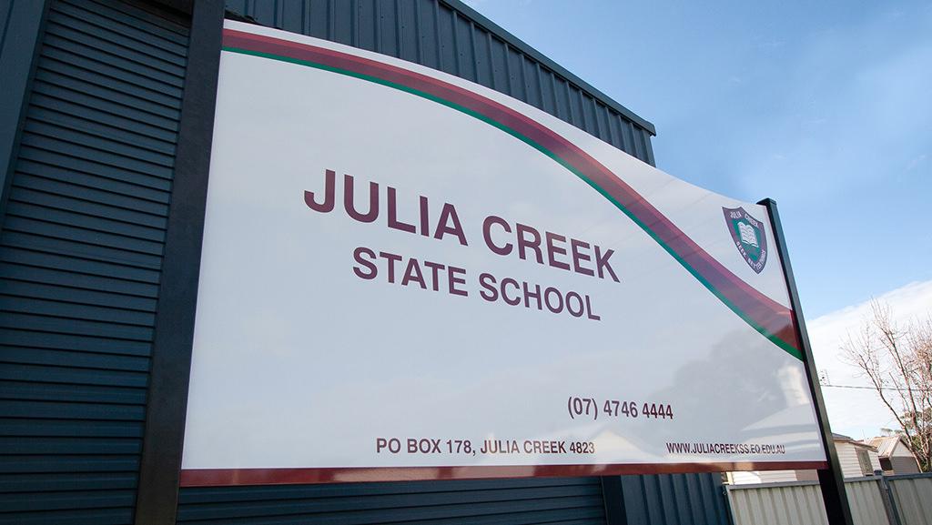 School sign for the Australian school Julia Creek State School