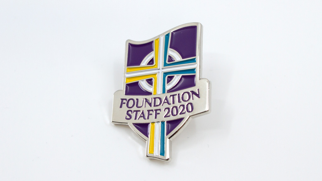 Custom made school lapel pin.