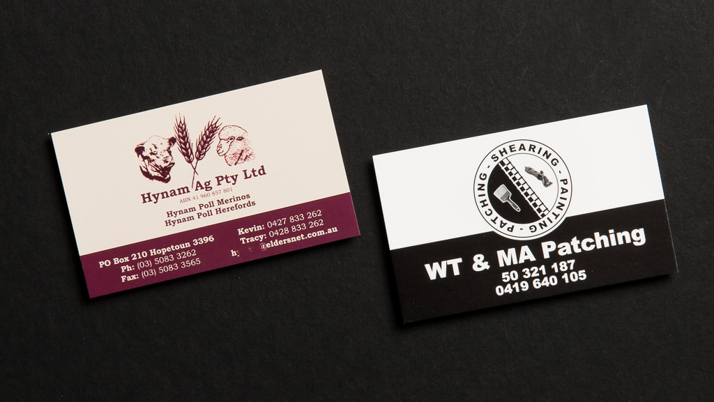 Classic custom business cards printed in single colour.