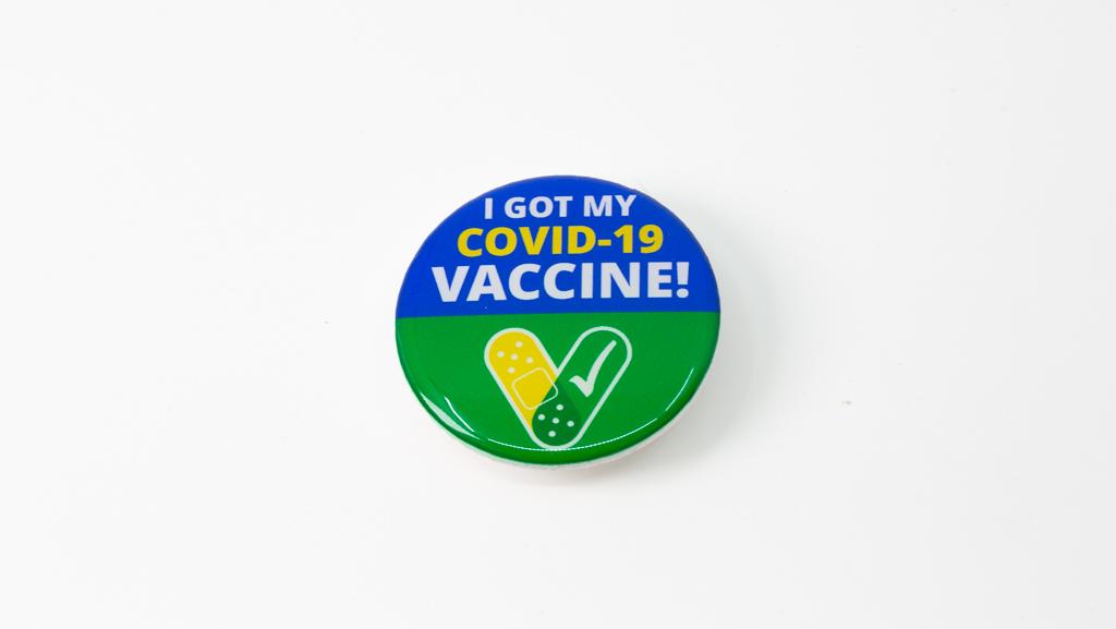 Covid Safe Vaccine Coronavirus Pandemic Custom Domed Badge 40mm