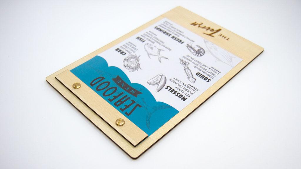 Wooden menu holder for restaurants